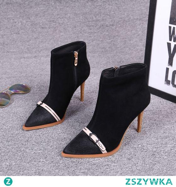 Moda Zima Czarne Zużycie ulicy Botki Zamszowe Buty Damskie 2020 Skórzany 8 cm Szpilki Szpiczaste Czółenka