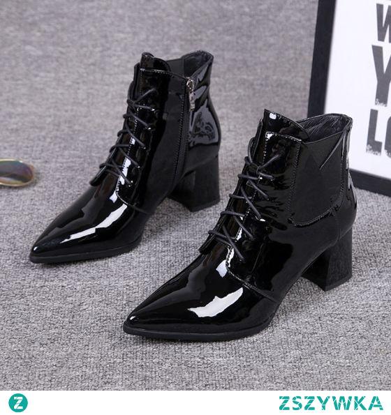 Moda Piękne Zima Czarne Zużycie ulicy Skórzany Buty Damskie 2020 Botki Skóry Lakierowanej 6 cm Grubym Obcasie Szpiczaste Boots