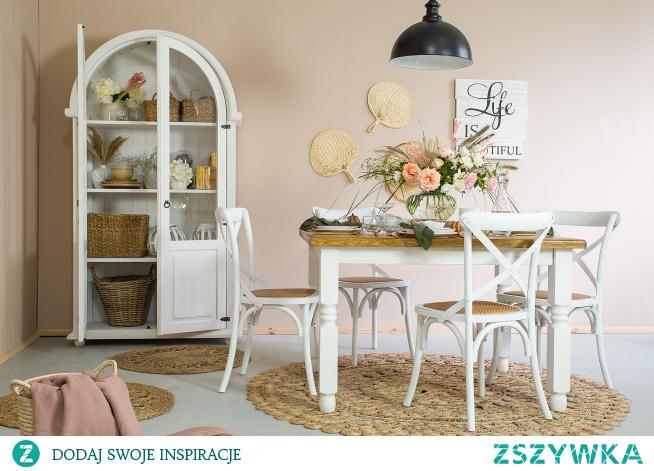 stylowe meble drewniane w białym kolorze, jadalnia z duszą meble-woskowane.com.pl