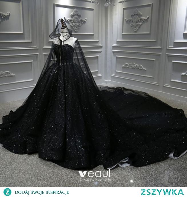 Najpiękniejsze / Ekskluzywne Czarne ślubna Suknie Ślubne Z płaszczem 2020