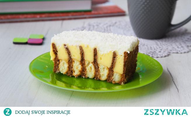Łatwe ciasto z budyniem bez pieczenia Jak sam tytuł brzmi dziś przepis na ciasto łatwe, ale pyszne. Przytulone biszkopty z herbatnikami, aksamitny budyń i puszysta bita śmietana. Czyli kompozycja warta spróbowania.
