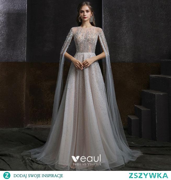 Iluzja Szary Przezroczyste Sukienki Wieczorowe 2020