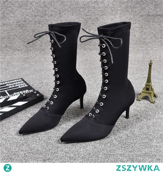 Moda Zima Czarne Zużycie ulicy Buty Damskie 2020 Połowy Łydki Skórzany 7 cm Szpilki Szpiczaste Boots
