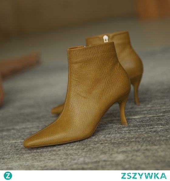 Proste / Simple Żółta Zużycie ulicy Skórzany Buty Damskie 2020 Botki 7 cm Szpilki Szpiczaste Boots