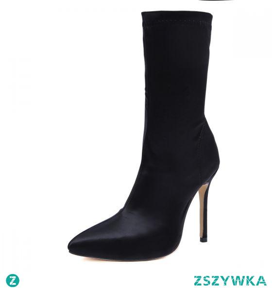 Moda Zima Czarne Zużycie ulicy Buty Damskie 2020 11 cm Szpilki Szpiczaste Boots