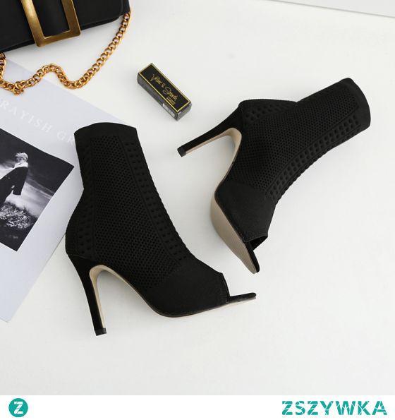 Piękne Czarne Zużycie ulicy Dziewiarskie Buty Damskie 2020 10 cm Szpilki Peep Toe Boots