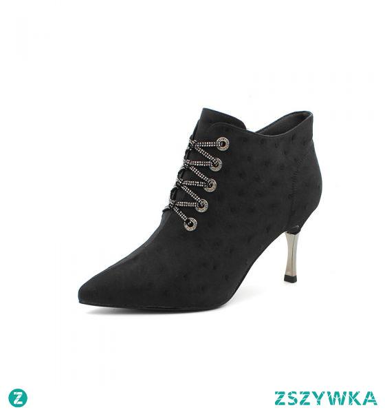 Moda Czarne Zużycie ulicy Rhinestone Buty Damskie 2020 7 cm Szpilki Szpiczaste Boots