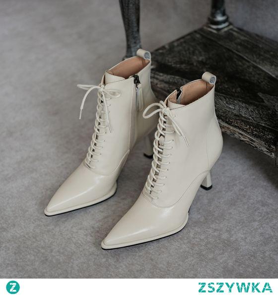 Moda Zima Beżowe Zużycie ulicy Buty Damskie 2020 Skórzany 7 cm Szpilki Szpiczaste Boots