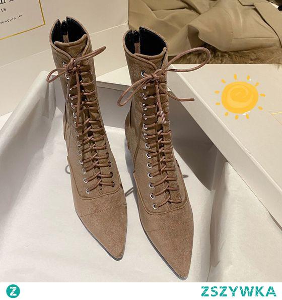 Moda Piękne Brązowy Zużycie ulicy Zamszowe Buty Damskie 2020 Skórzany 8 cm Szpilki Szpiczaste Boots