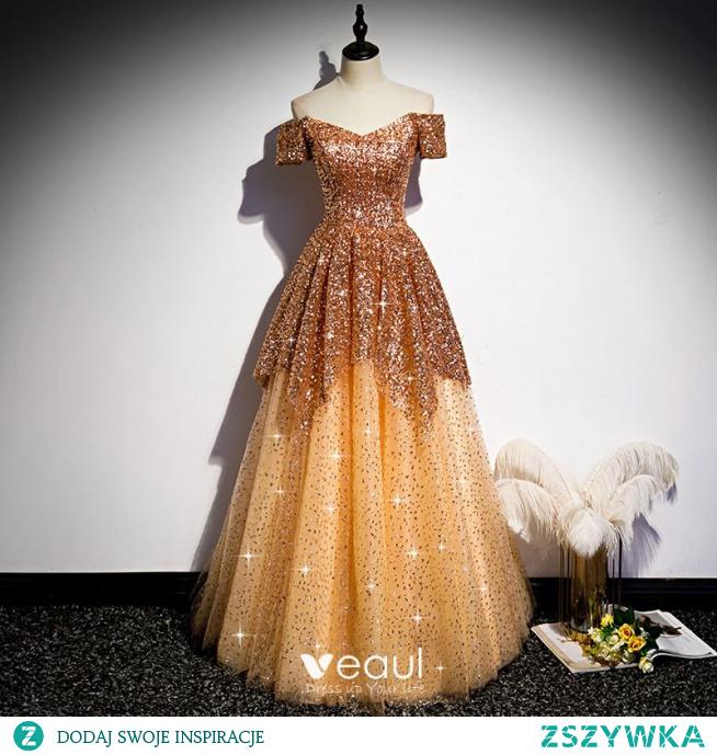 Błyszczące Złote Cekiny Taniec Sukienki Na Bal 2020