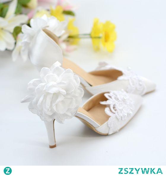 Elegancka Kość Słoniowa Satyna Z Koronki Buty Ślubne 2020 Z Paskiem Kwiat Perła 8 cm Szpilki Szpiczaste Ślub Na Obcasie