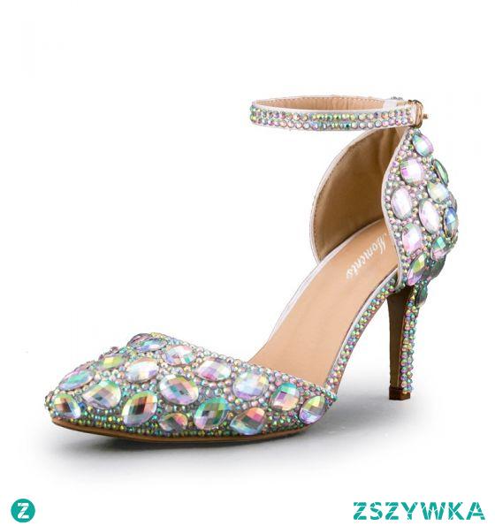 Seksowne Multi-Kolory Rhinestone Wieczorowe Sandały Damskie 2020 Z Paskiem 8 cm Szpilki Szpiczaste Sandały