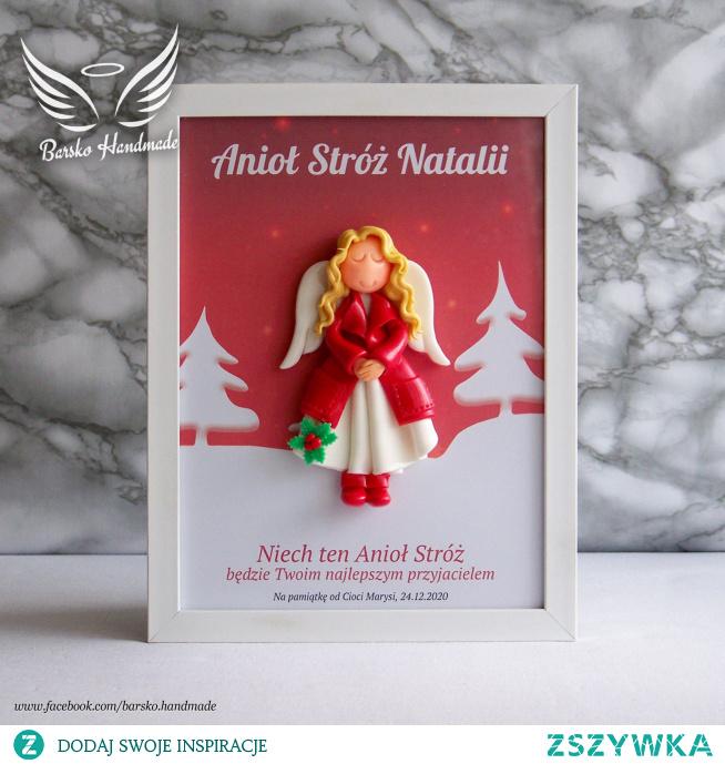 Ramka 18x24 ze świątecznym aniołkiem z zimnej porcelany