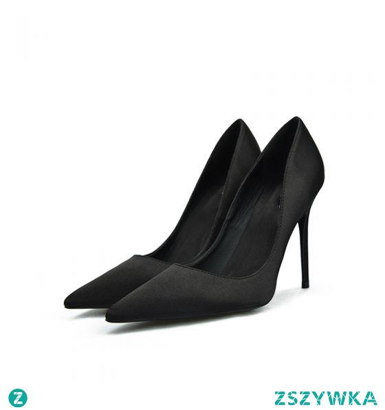Proste / Simple Czarne Bal Satyna Czółenka 2020 10 cm Szpilki Szpiczaste Czółenka