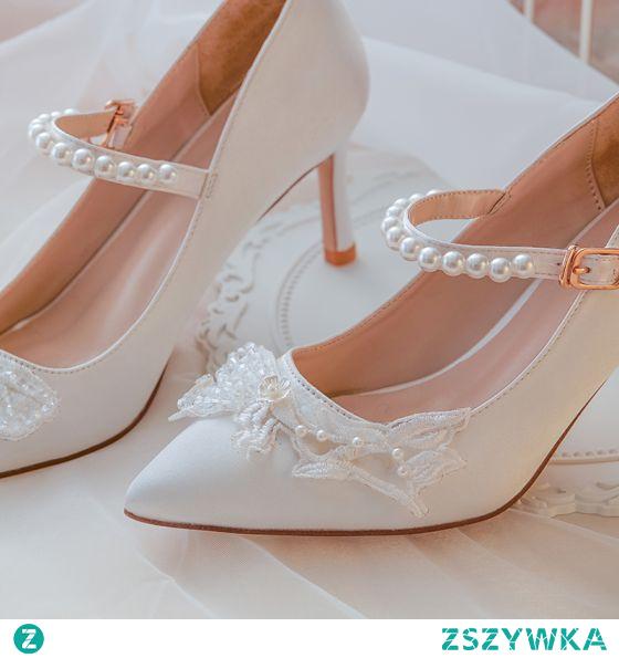 Zaloguj się, aby otrzymać V Coins za udostępnienie! Poleć znajomym Eleganckie Białe Satyna Buty Ślubne 2020 Perła Z Koronki Kwiat 7 cm Szpilki Szpiczaste Ślub Czółenka