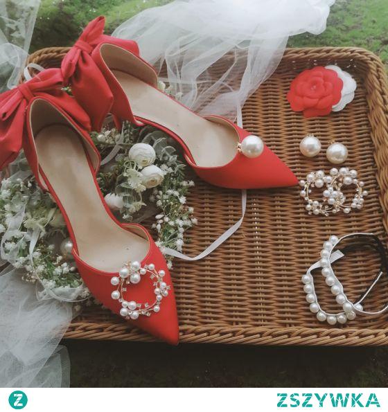Elegancka Czerwone Satyna Ślub Buty Ślubne 2020 Perła Rhinestone Kokarda 8 cm Szpilki Szpiczaste Na Obcasie