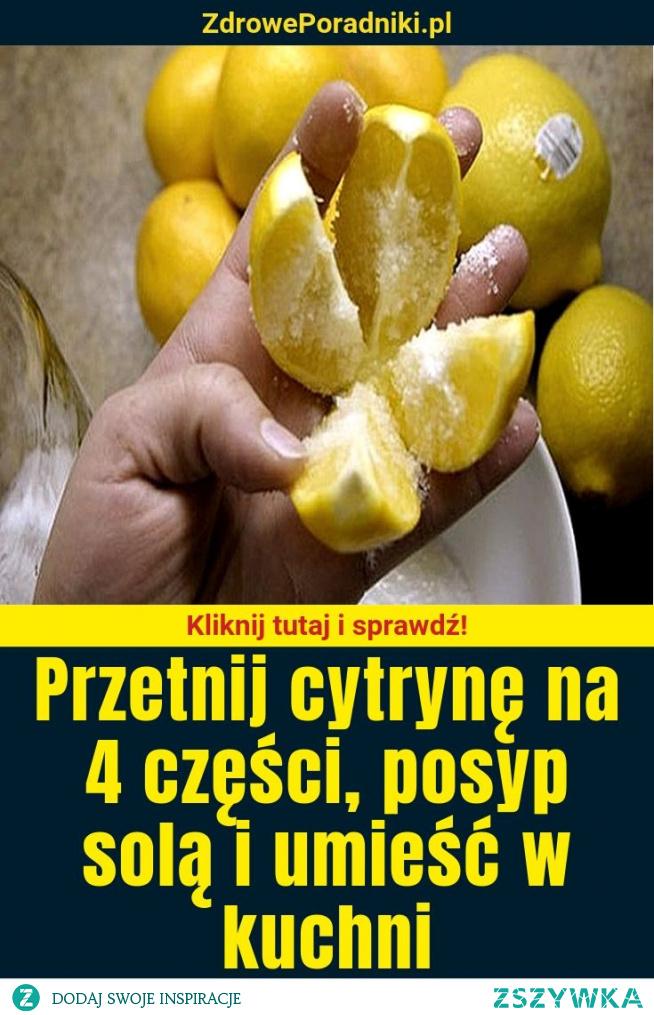 Przetnij cytrynę na 4 części, posyp solą i umieść w kuchni