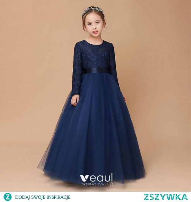 Muzułmańska Granatowe Koronkowe Zima Sukienki Dla Dziewczynek 2020