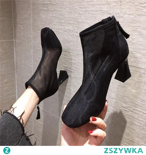 Moda Czarne Przypadkowy Przezroczyste Buty Damskie 2020 Botki 7 cm Grubym Obcasie Szpiczaste Boots