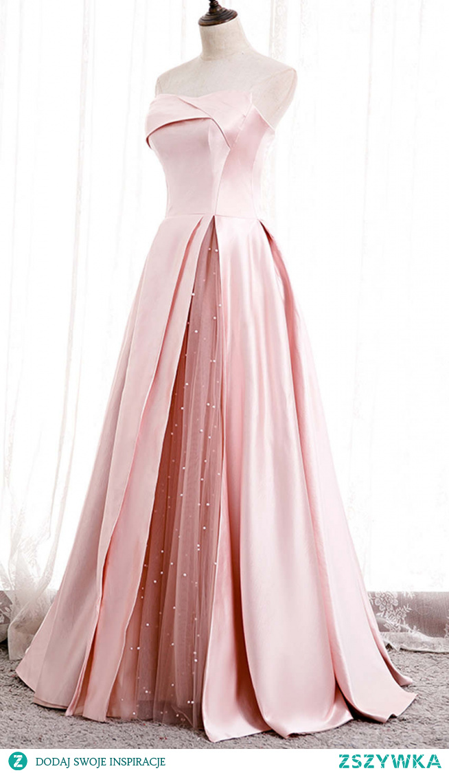 Pink Strapless Satin and Tulle Splice Prom Ball Gowns KSP582