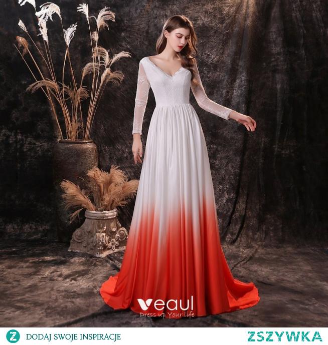 Dwa kolory Białe Czerwone Satyna Sukienki Wieczorowe 2021