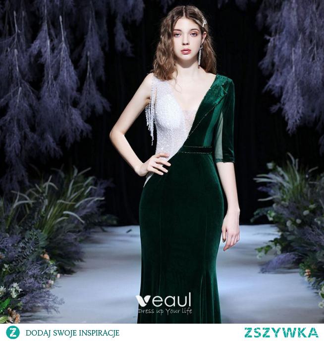Seksowne Ciemnozielony Zima Przezroczyste Welur Sukienki Wieczorowe 2021