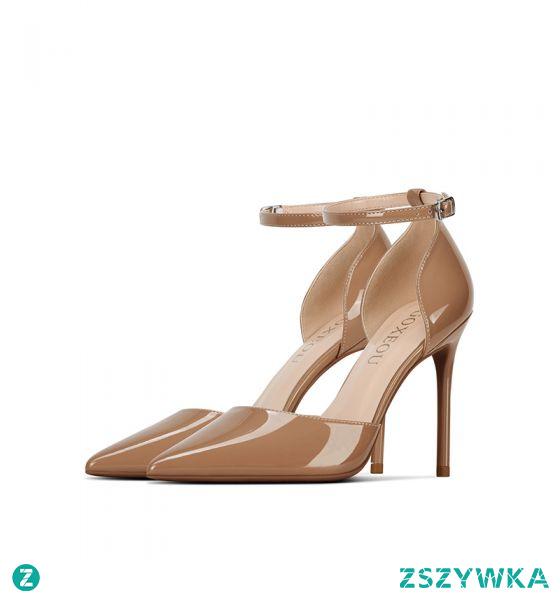Seksowne Beżowe Wieczorowe Skóry Lakierowanej Sandały Damskie 2021 Z Paskiem 10 cm Szpilki Szpiczaste Wysokie Obcasy