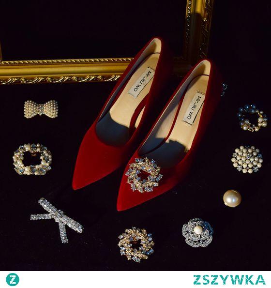 Stylowe / Modne Czerwone Skórzany Rhinestone Zamszowe Buty Ślubne 2021 Wysokie Obcasy 8 cm Szpilki Szpiczaste Ślub Czółenka