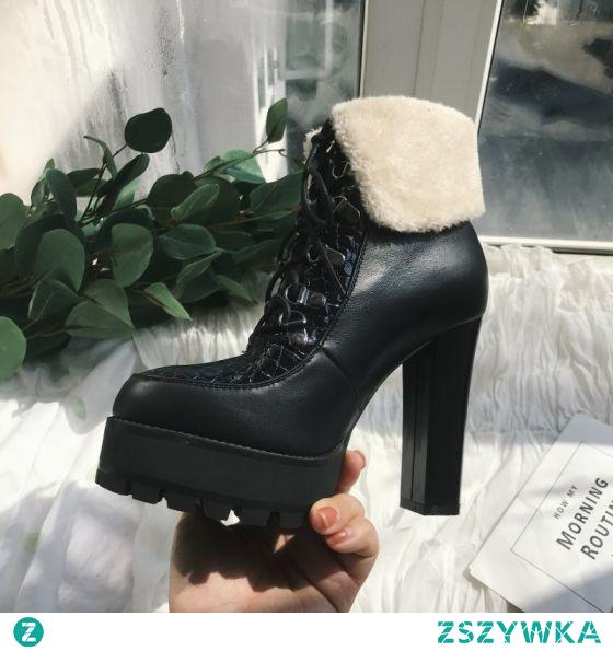 Moda Zima Czarne Zużycie ulicy Koronki Buty Damskie 2021 Skórzany Wodoodporne Botki 12 cm Grubym Obcasie Wysokie Obcasy Szpiczaste Boots