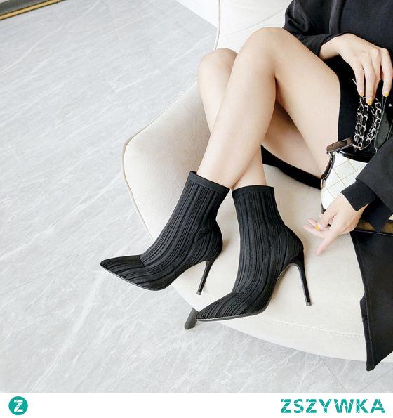 Moda Czarne Zużycie ulicy Dziewiarskie Buty Skarpetowe 2021 10 cm Szpilki Wysokie Obcasy Szpiczaste Buty Damskie