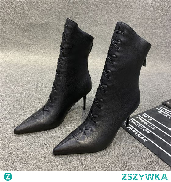 Moda Czarne Zużycie ulicy Skórzany Buty Damskie 2021 7 cm Szpilki Wysokie Obcasy Szpiczaste Boots