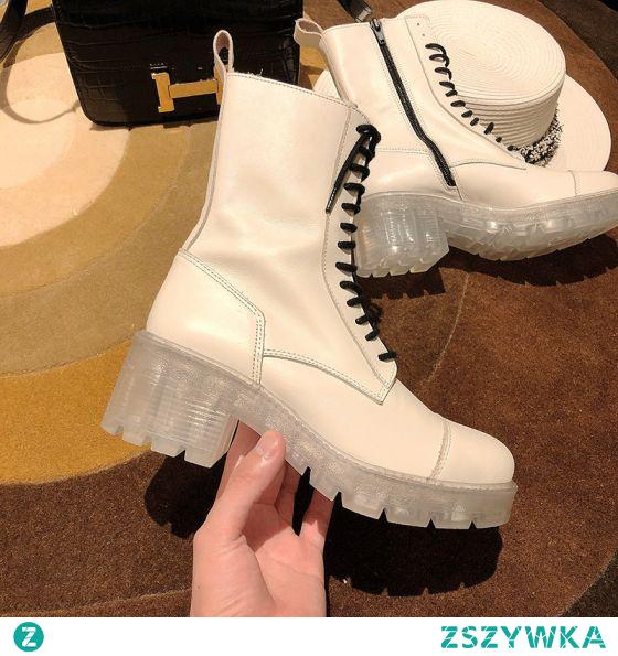 Moda Piękne Zima Kość Słoniowa Zużycie ulicy Buty Damskie 2021 6 cm Kryształ Grubym Obcasie Okrągłe Toe Wysokie Obcasy Boots