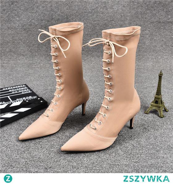 Moda Zima Beżowe Zużycie ulicy Skórzany Buty Damskie 2021 Koronki 7 cm Szpilki Szpiczaste Wysokie Obcasy Boots