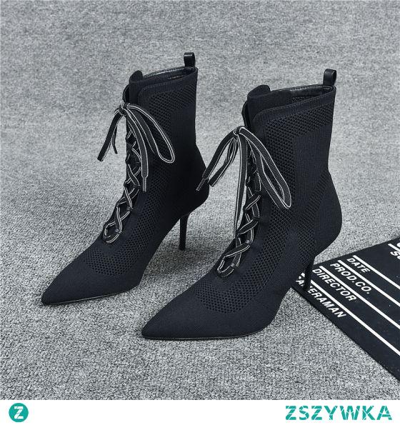 Piękne Czarne Zużycie ulicy Dziewiarskie Buty Damskie 2021 Botki 8 cm Szpilki Wysokie Obcasy Szpiczaste Boots