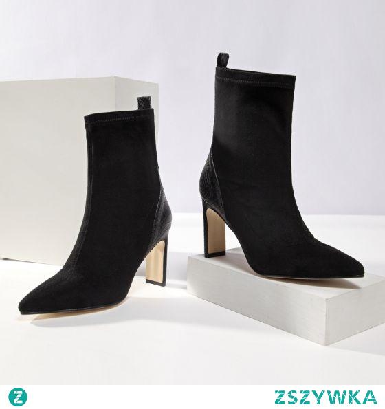 Moda Czarne Zużycie ulicy Zamszowe Buty Damskie 2021 10 cm Grubym Obcasie Wysokie Obcasy Szpiczaste Boots