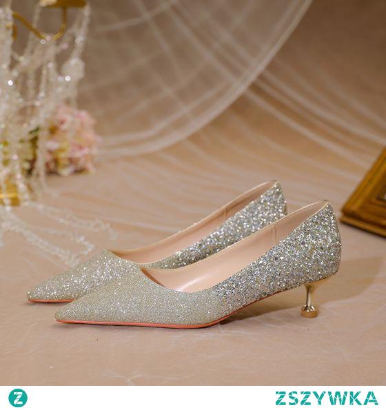 Błyszczące Złote Cekiny Buty Ślubne 2021 Skórzany 5 cm Szpilki Szpiczaste Ślub Wysokie Obcasy Czółenka