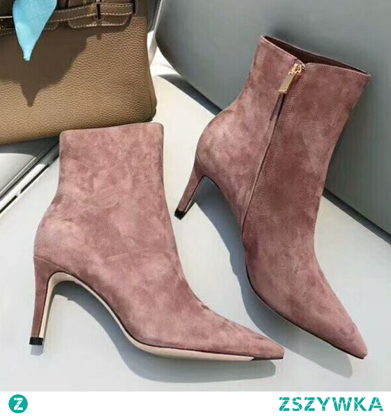 Piękne Rumieniąc Różowy Zużycie ulicy Zamszowe Buty Damskie 2021 Botki 8 cm Szpilki Szpiczaste Wysokie Obcasy Boots