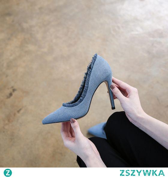 Moda Niebieskie Zużycie ulicy Trampki Czółenka Wysokie Obcasy 2021 10 cm Szpilki Szpiczaste Czółenka