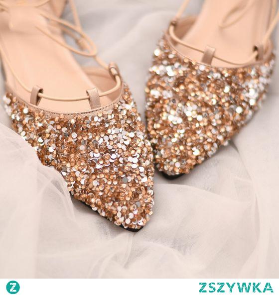 Błyszczące Złote Cekiny Płaskie Buty Ślubne 2021 Szpiczaste Ślub Na Obcasie