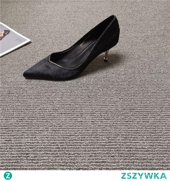 Proste / Simple Czarne Przypadkowy Zamszowe Czółenka 2021 5 cm Szpilki Wysokie Obcasy Szpiczaste Czółenka