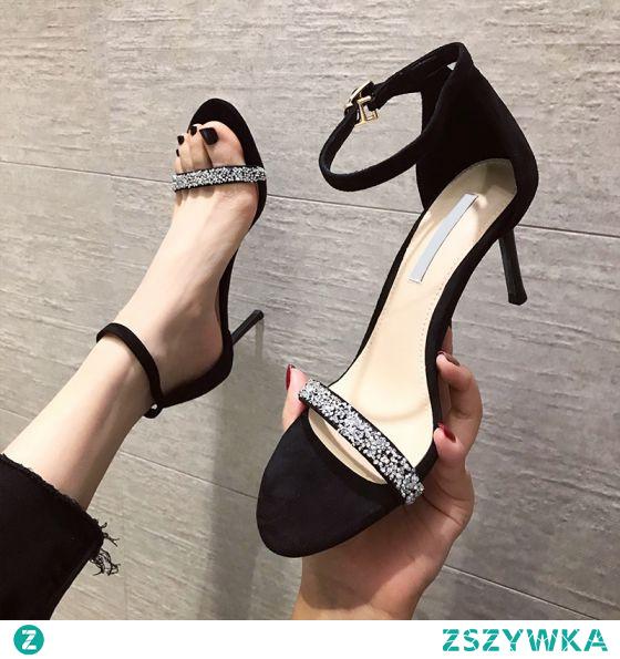 Seksowne Czarne Wieczorowe Rhinestone Zamszowe Sandały Damskie 2021 5 cm Szpilki Wysokie Obcasy Peep Toe Sandały