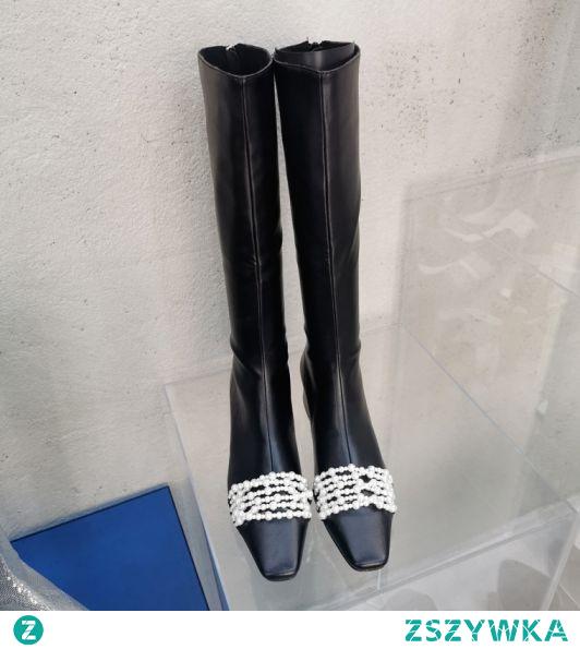 Moda Czarne Zużycie ulicy Perła Buty Damskie Połowy Łydki 2021 5 cm Grubym Obcasie Kwadratowe Wysokie Obcasy Boots