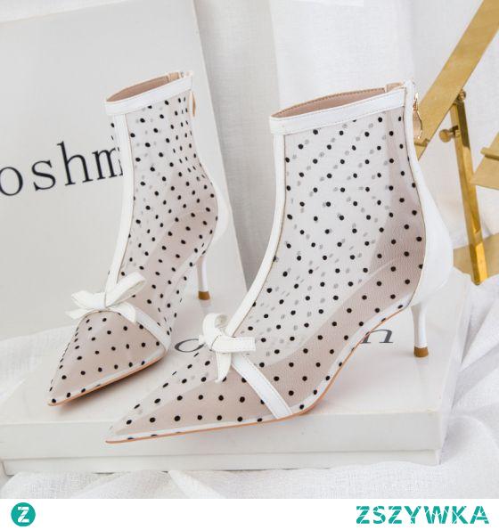 Seksowne Białe Wieczorowe Przezroczyste Spleciona Buty Damskie 2021 Botki Wysokie Obcasy 6 cm Szpilki Szpiczaste Boots