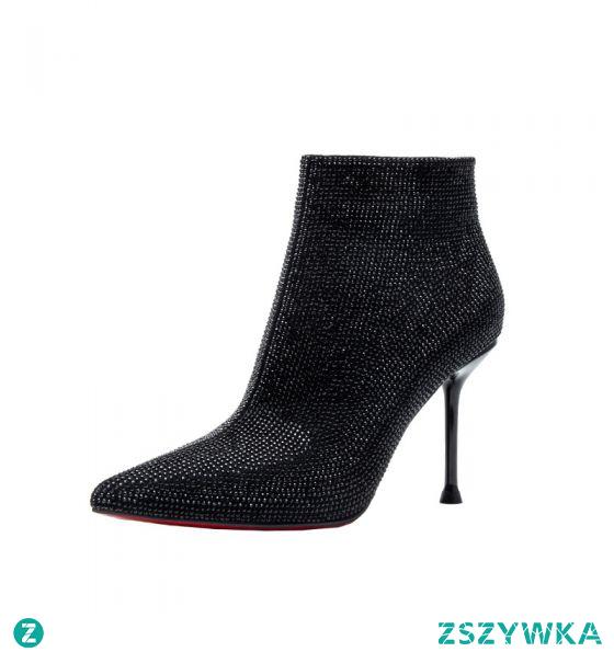 Uroczy Czarne Wieczorowe Rhinestone Buty Damskie 2021 Botki 9 cm Szpilki Szpiczaste Wysokie Obcasy Boots