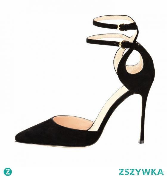 Piękne Czarne Koktajlowe Zamszowe Sandały Damskie 2021 Z Paskiem 10 cm Szpilki Szpiczaste Sandały Wysokie Obcasy