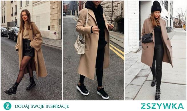 Modne stylizacje z beżowym płaszczem