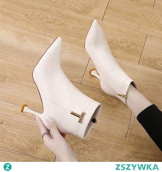 Moda Czarne Zużycie ulicy Rhinestone Buty Damskie 2021 8 cm Szpilki Botki Szpiczaste Boots Wysokie Obcasy