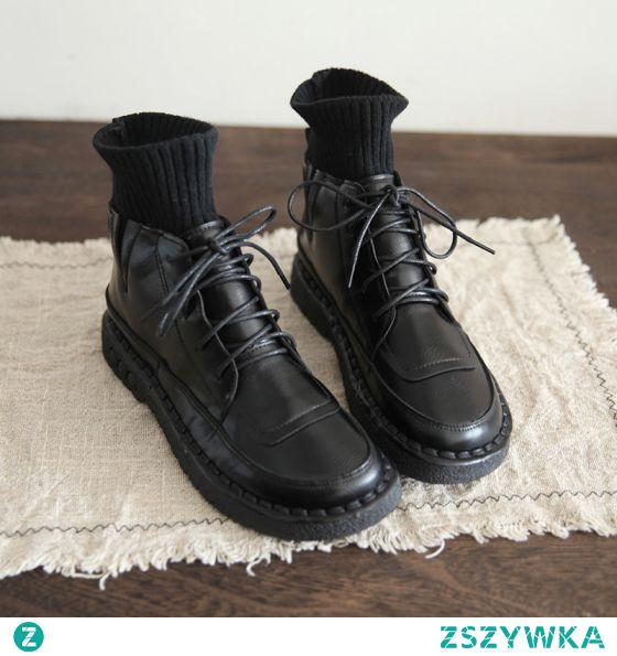 Vintage Zima Czarne Zużycie ulicy Płaskie Buty Damskie 2021 Botki Okrągłe Toe Boots