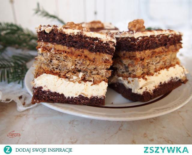 Ciasto kajmakowo orzechowe z kremem kawowym
