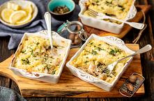 Zapiekanka z ryba, porem, ziemniakami i szpinakiem